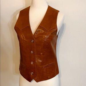 VINTAGE REMY 70's western Leather button vest